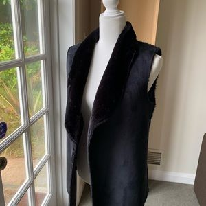 Neiman Marcus Black faux fur and faux suede vest